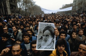 10 Dec 1978, Tehran, Iran --- Original caption: Tehran, Iran:  Demonstrators carry photo of Ayatollah Khomeini during anti-shah demonstration. --- Image by © Bettmann/CORBIS